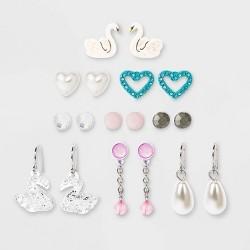 Girls' 9pk Swan Earring Set - Cat & Jack™