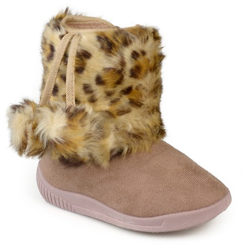Girls' Journee Collection Pom Pom Faux Fur Fashion Boots - Assorted Colors - image 1 of 6