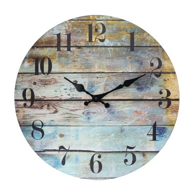 """14"""" Rustic Wooden Wall Clock Blue/Brown - Stonebriar Collection"""