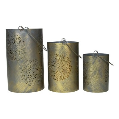 """Northlight Set of 3 Gray and Gold Floral Designed Pillar Candle Lanterns 10"""""""