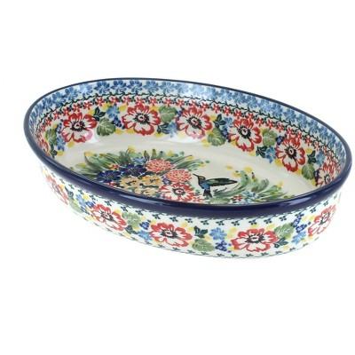 Blue Rose Polish Pottery Hummingbird Small Oval Baking Dish