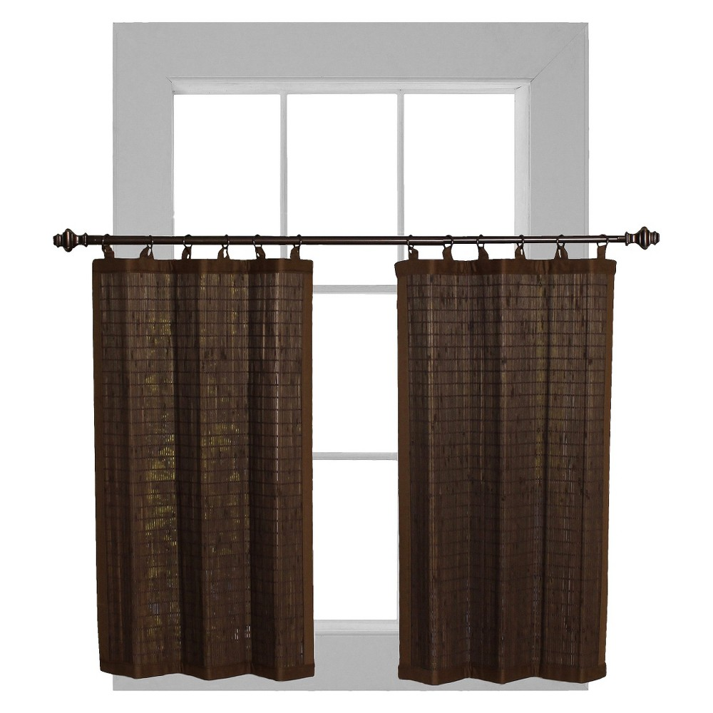 "Image of ""24x36""""Curtain Tier Set Bamboo Ring Top Dark Brown - Versailles Home Fashions"""