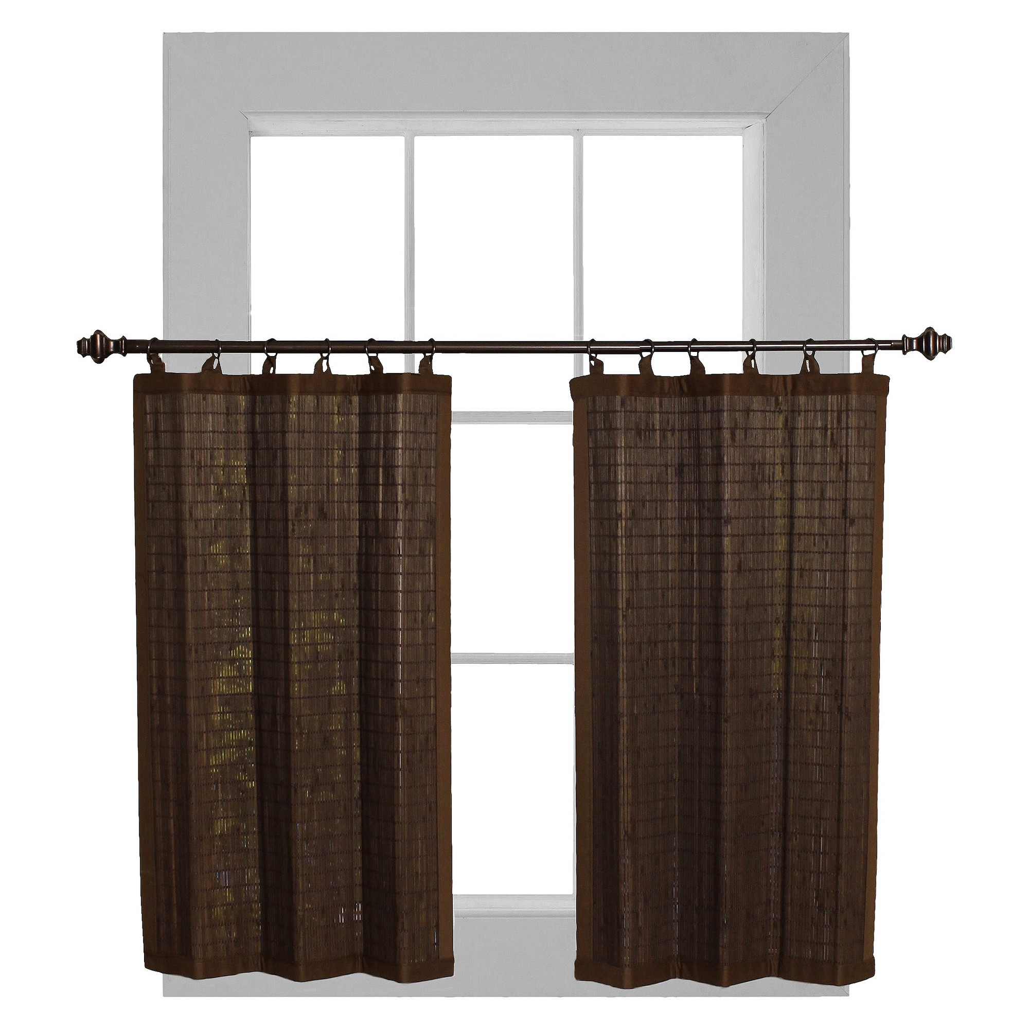 'Curtain Tier Set Bamboo Ring Top Espresso (24''x36'') - Versailles , Size: 24x36'', Brown'