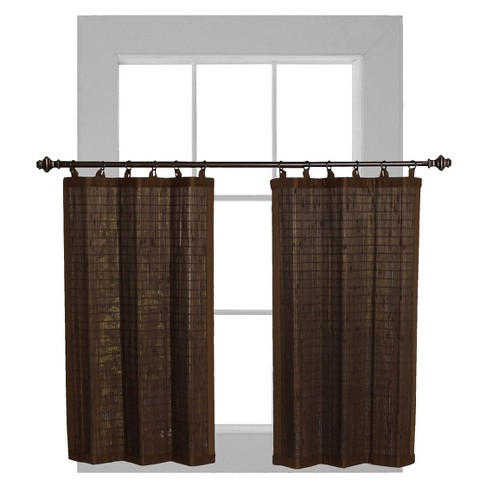 Bamboo Ring Top Curtain Tier Set - Versailles Home Fashions - image 1 of 3