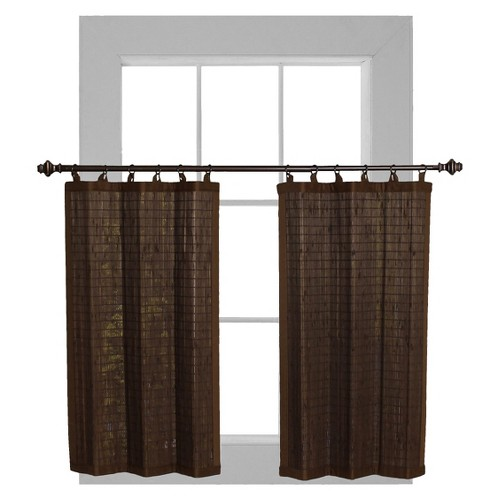 'Curtain Tier Set Bamboo Ring Top Espresso (24''x24'') - Versailles , Size: 24x24'', Brown'