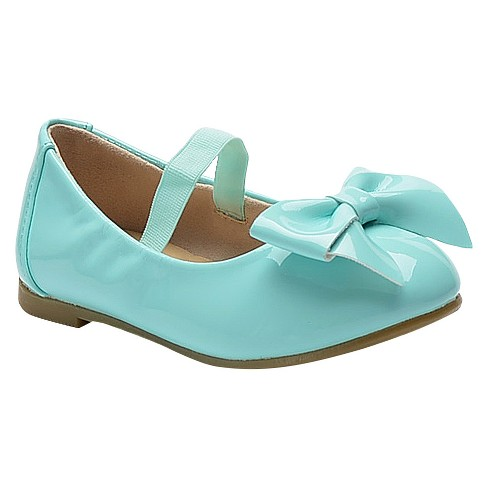 Toddler Girls' Carrie Patent Cinched Topline Bow Ballet Flats Cat & Jack™ - Turquoise 7 - image 1 of 2
