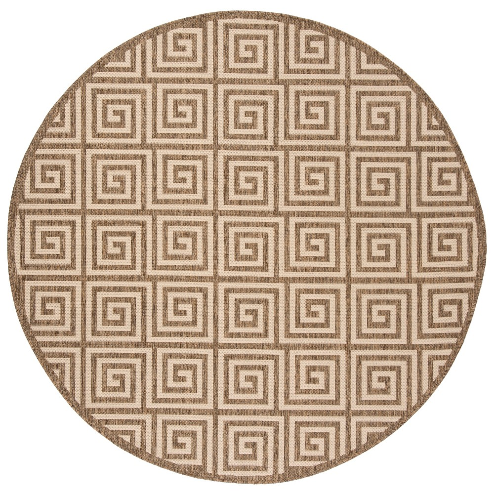 67 Round Geometric Loomed Area Rug Cream - Safavieh Best