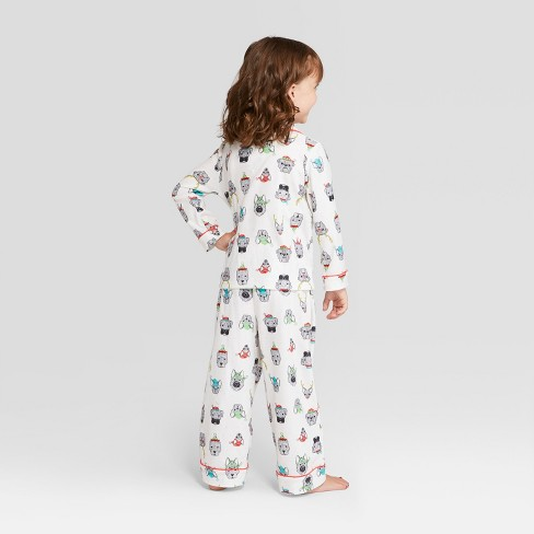 Toddler Holiday Festive Dogs Notch Collar Pajama Set - Wondershop™ White 2T    Target 2ff5a52b0