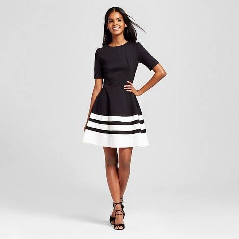 Womens Short Sleeve Striped Fit Flare Dress Necessary Objects