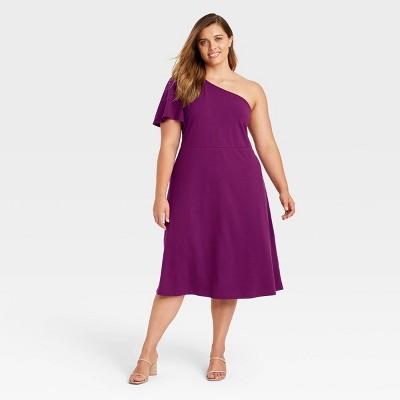 Women's Short Sleeve A-Line Dress - Who What Wear™ Plum