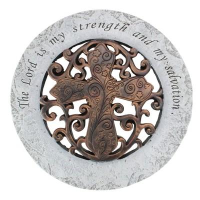 "Roman 12"" Religious Quote Round Outdoor Patio Garden Stepping Stone - Gray/Bronze"