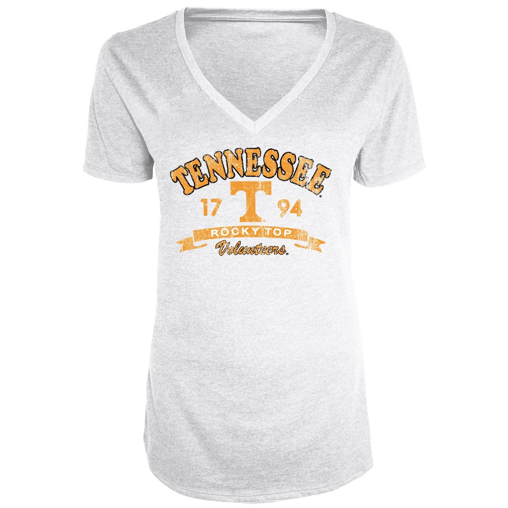 Tennessee Volunteers Women's Short Sleeve Heathered V-Neck T-Shirt - S, Multicolored
