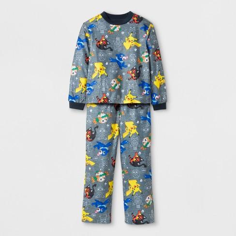 572c86096289 Boys  Pokemon Long Sleeve Pajama Set - Gray 8   Target