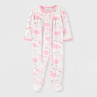Baby Girls' Sheep Fleece Sleep 'N Play - Just One You® made by carter's White/Pink Newborn