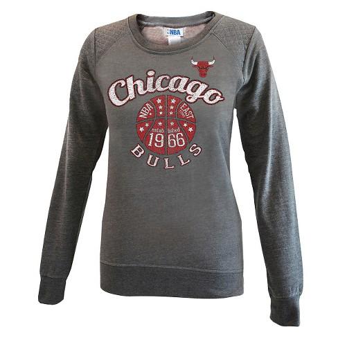 Chicago Bulls Women's Gray Quilted Shoulder Sweatshirt M - image 1 of 2