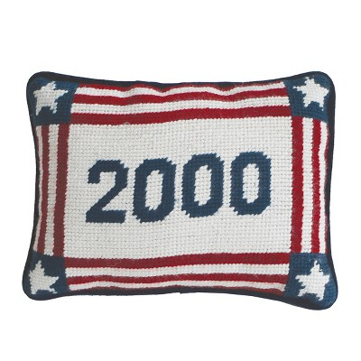 """C&F Home 6.5"""" x 9"""" 2000 July 4th Needlepoint Petite Pillow"""