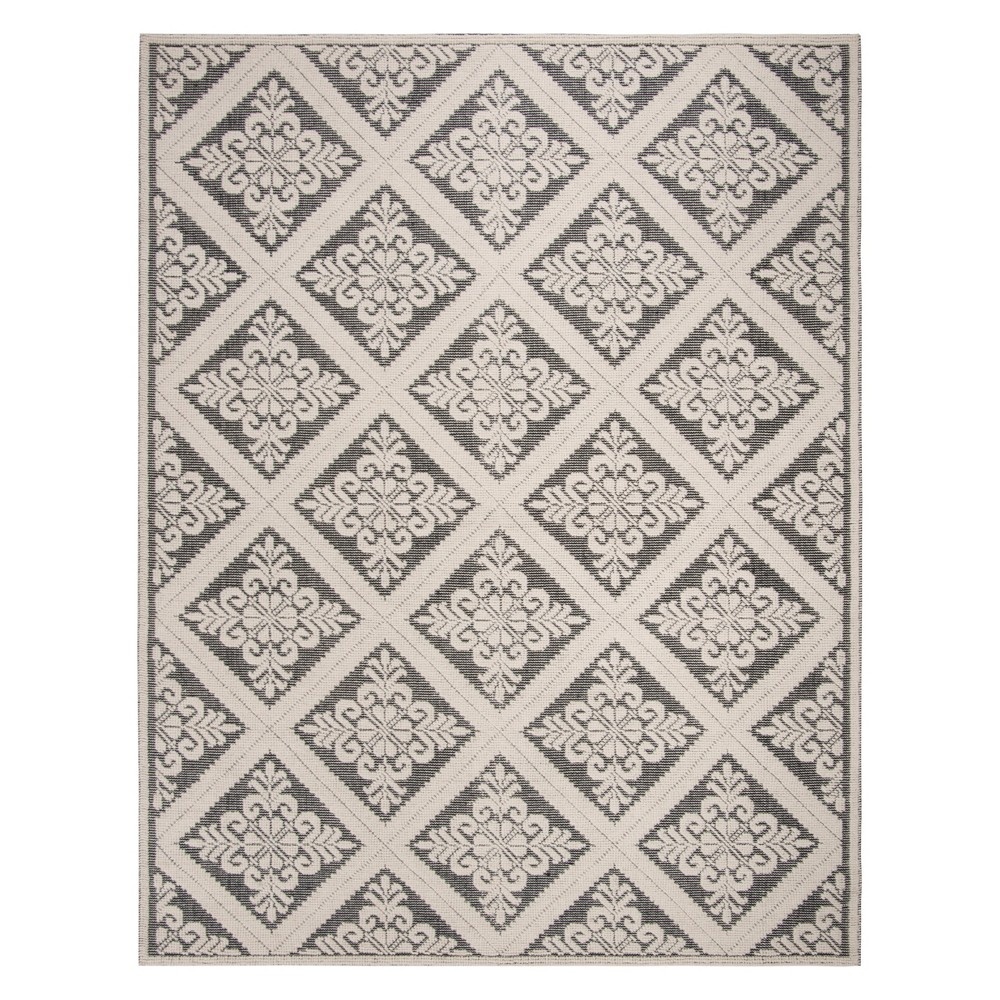 8'X10' Medallion Woven Area Rug Ivory/Black - Safavieh