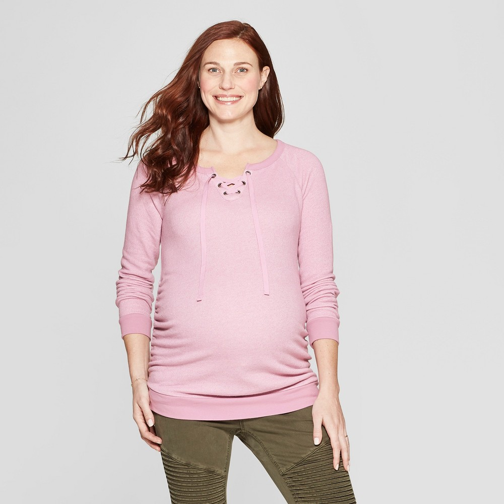 Maternity Textured Lace-Up Sweatshirt - Isabel Maternity by Ingrid & Isabel Pink XL, Women's, Pink Chimes