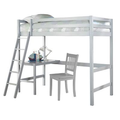 Kids' Twin Caspian Study Loft with Chair Gray - Hillsdale Furniture