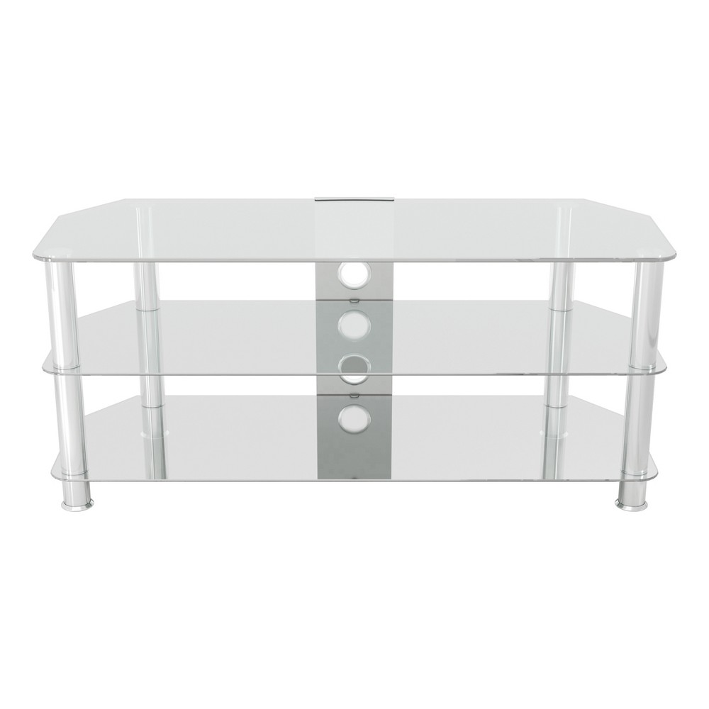 "55"" TV Stand with Cable Management - Silver/Clear"