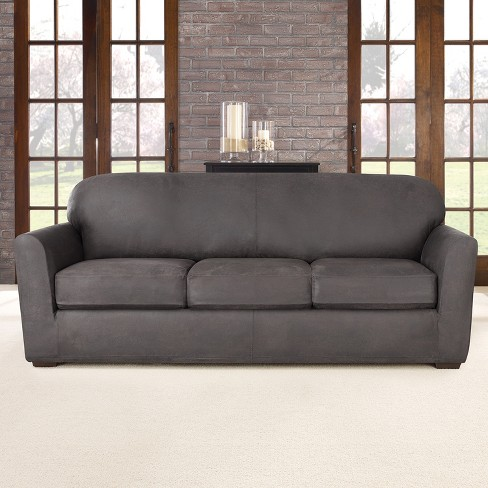 4pc Ultimate Stretch Leather Sofa Slipcover Sure Fit Target