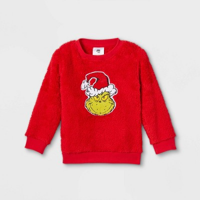 Toddler Girls' The Grinch Knit Pullover - Red