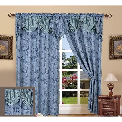 Elegant Comfort Penelopie Jacquard Look Curtain Panel Set with Valance (Set of 2).
