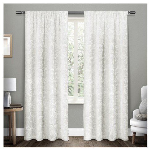 Damask Medallion Heavyweight Chenille Jacquard Room Darkening Rod Pocket Window Curtain Panel Pair - Exclusive Home™ - image 1 of 4