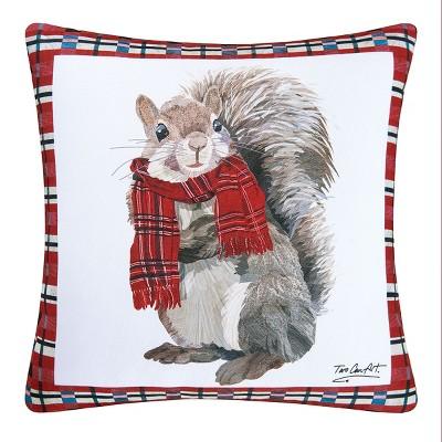 "C&F Home 18"" x 18"" Plaid Squirrel Indoor / Outdoor Pillow"