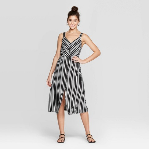 Women's Striped V-Neck Strappy Button Front Midi Dress - Xhilaration™ Ivory - image 1 of 2