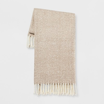Herringbone Faux Mohair Throw Blanket Neutral - Threshold™