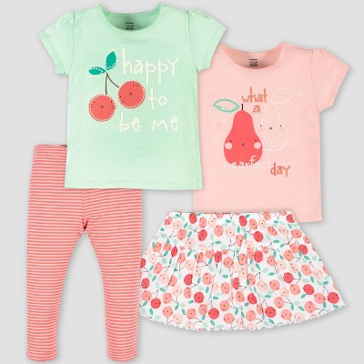 Gerber Baby Girls' 4pc Pear Top and Bottom Set - Green/Pink
