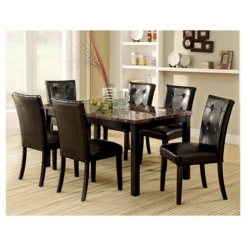 IoHomes Pc Faux Marble Dining Table Set WoodBlack Target - Black and brown kitchen table