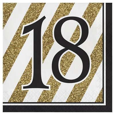 16ct Black & Gold 18th Birthday Napkins
