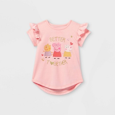 Toddler Girls' Peppa Pig 'Better Together' Short Sleeve Graphic T-Shirt - Pink