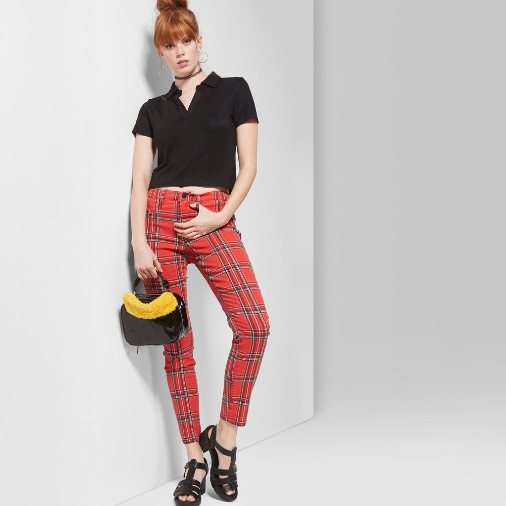 Women's Plaid Mid-Rise Skinny Jeans - Wild Fable Red 2