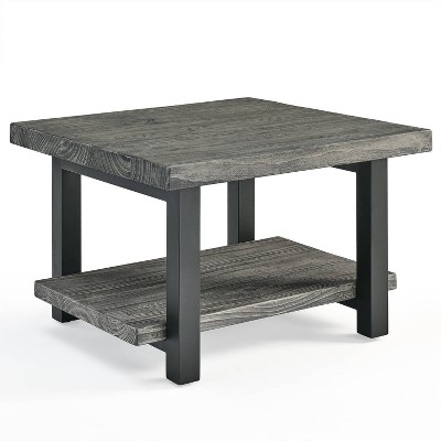 """27"""" Pomona Metal and Reclaimed Wood Square Coffee Table Slate Gray - Alaterre Furniture"""