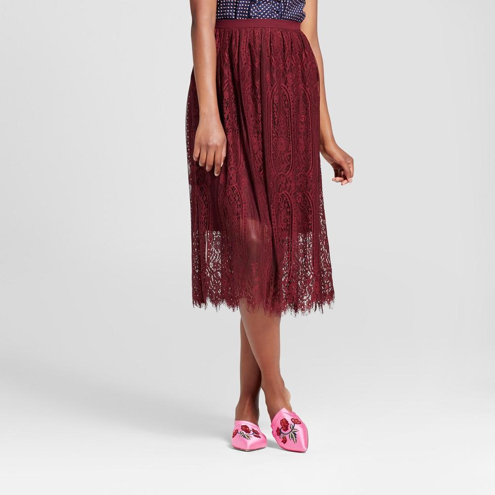 Women's Lace Midi Skirt Set - Xhilaration (Juniors') Berry (Pink) XL