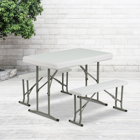 Flash Furniture 3 Piece Portable Plastic Folding Bench And Table Set Target