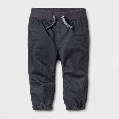 Baby Boys' Twill Joggers - Cat & Jack™ Gray Newborn