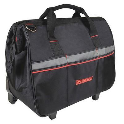 "WESTWARD 32PJ39 Tool Bag, 1680D Ballistic Polyester, 19 Pockets, Black, 17-1/2"""