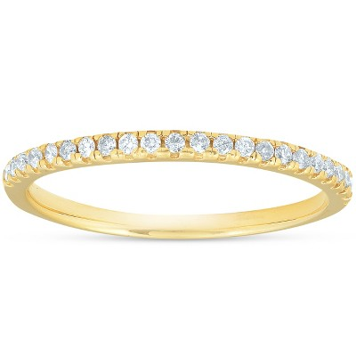Pompeii3 1/5CT Diamond Wedding Ring Womens Stackable Band 10k Yellow Gold