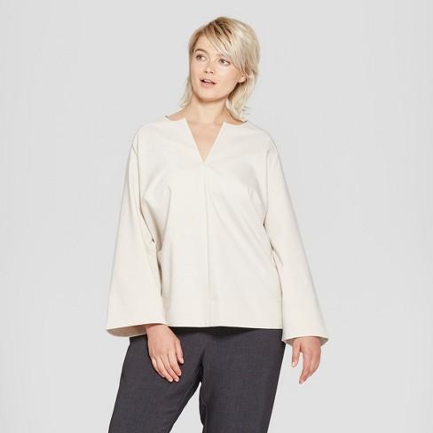 e58a5dcfebb7be Women's Plus Size Long Sleeve V-Neck Blouse - Prologue™ Cream