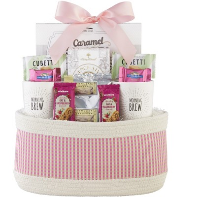 1-800-Baskets Mother's Day Coffee Gift Basket, includes 2 White Stoneware Mugs, Ghirardelli Chocolate and French Ground coffee