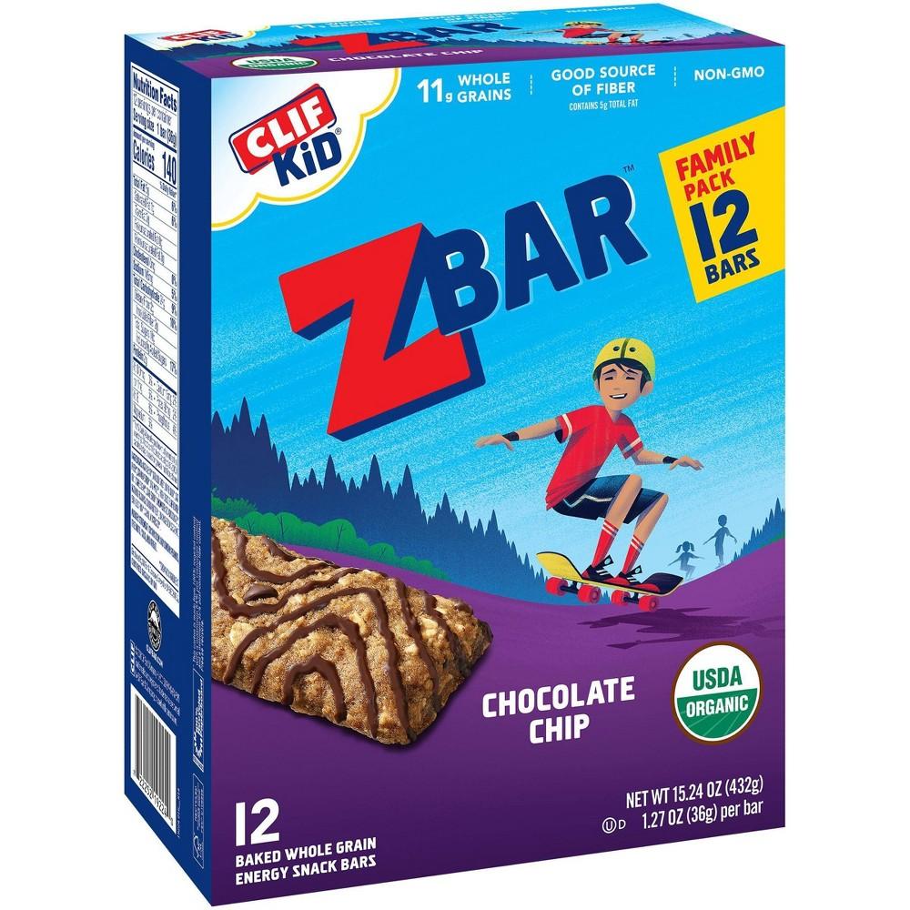 Clif Kid Zbar Organic Chocolate Chip Whole Grain Energy Snack - 12ct