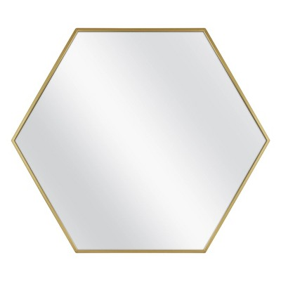"30"" x 26"" Metal Hexagon Mirror Natural MDF Brass - Project 62™"