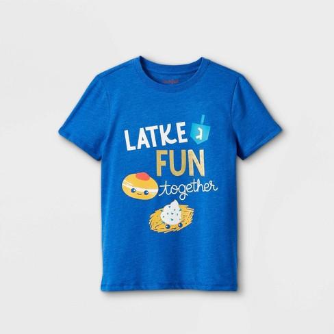 Boys' 'Latke Fun Together' Graphic Short Sleeve T-Shirt - Cat & Jack™ Cobalt Blue - image 1 of 2