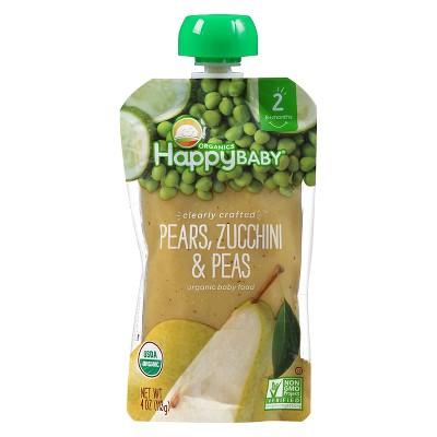 Happy Baby Pureed Baby Food Pears Zucchini - 4oz