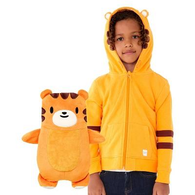 Cubcoats Kids Tomo the Tiger 2-in-1 Stuffed Animal & Hooded Zip Up Orange Sweatshirt