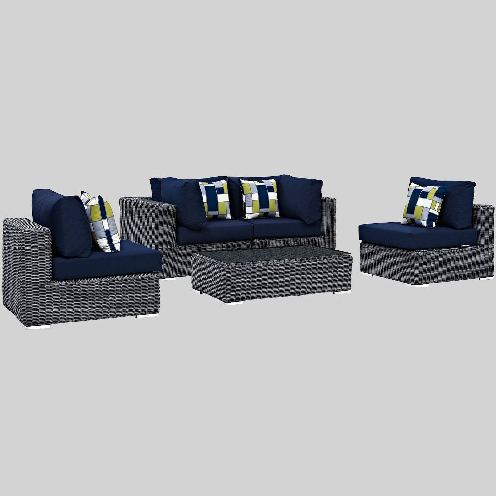 Summon 5pc Outdoor Patio Sunbrella Sectional Set - Navy (Blue) - Modway